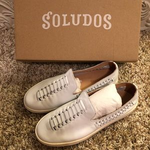 Soludos White Leather Woven Sneakers